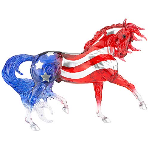 """Breyer Horses Traditional Series Collector Model   Old Glory   Patriotic Red, White and Blue   2021 Limited Edition   Horse Toy Model   11.5"""" x 8.5""""   1:9 Scale Horse Figurine   Model #1845"""