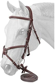 EquiRoyal Premium Padded Fancy Stitched Raised Figure Eight English Bridle - Brown