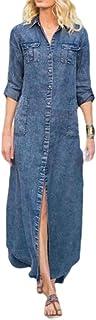 Yeirui Women Sleeve Long Down Button Trench-Coat Denim Casual Denim Shirt Dress