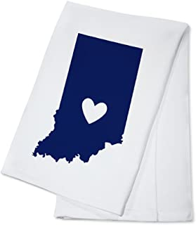 Indiana - State Outline and Heart (100% Cotton Kitchen Towel)