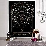 QAWD Dorado Negro Sol Luna Tarot Card Mandala Tapiz Colgante de Pared Brujería Hippie Tapiz Escena psicodélica Tapiz A15 130x150cm
