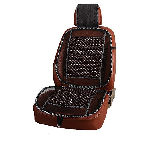 GLITZFAS Auto Sitzauflage Sitzmatte Holzkugel mit universeller Passform - Sommer Holzperlen Sitzauflage für Autositze (Braun)