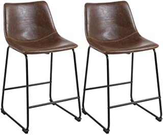 Phoenix Home Roundhill Furniture PC185GY Lotusville Vintage PU Leather, Set of 2 Counter Height Stool, Brown