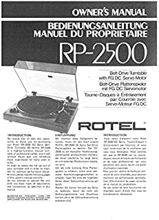 Rotel RP-2500 Turntable Owners Instruction Manual Reprint [Plastic Comb]