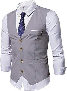 MU2M Men Business Slim Formal Solid Sleeveless Suit Vests Waistcoat