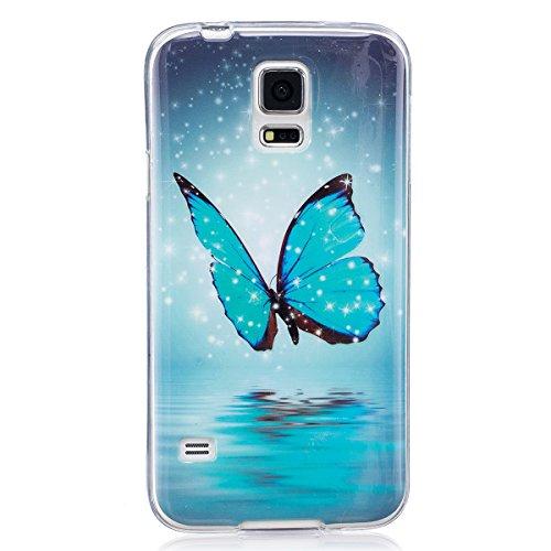ISAKEN Funda para Samsung Galaxy S5, Slim Carcasa de Silicona TPU Luminosos Fluorescentes En La Oscuridad Trasera Bumper Case Cover Funda Cáscara para Samsung Galaxy S5 / S5 Neo (Mariposa Azul)
