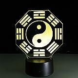 Lampade Yin Yang Tai Chi 3D Illusione Ottica Luce Notturna Led Da Tavolo Illuminazione Luce Di Notte 16 Colori Controllo Tattile Lampada Per La Decorazione Camera Da Letto Compleanno