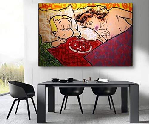 baodanla Geen frame Beroemde kunstenaar abstracte moderne kunst olieverf op pop art graffiti street art goed voor slaapkamer decoratie