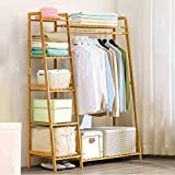 【Ship From US】Heavy Duty Clothes Rack with Shelves, Free Standing Bamboo Garment Rack, Clothing Storage Shelf, Industrial Hall Tree Coat Rack with Shoes Storage Shelf,for Bedroom, Entryway, Wood Color