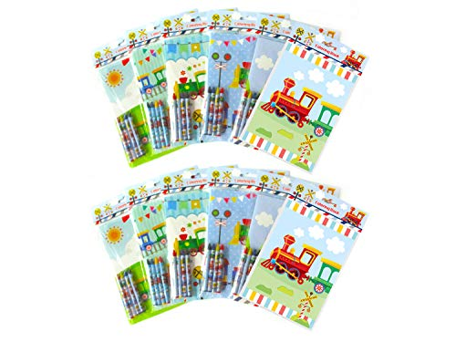 TINYMILLS Train Coloring Book Set with 12 Coloring Books and 48 Crayons Train Birthday Party Supplies Favor Bag Filler Carnival Prizes Rewards Stocking Stuffers Classroom Party