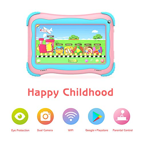 Kids Tablet 7 Android Toddler Tablet for Kids Edition Tablet PC Android Quad Core Toddler Tablets with WiFi Dual Camera IPS Safety Eye Protection Screen and Parent Control Mode(Pink)
