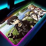 Alfombrillas de ratón Sword Art Online Anime Glowing Sword Girl Large XXL 90x40cm Alfombrilla de ratón RGB Alfombrilla de Escritorio PC Computadora LED Luz de Fondo Teclado Mat-300X800mm_Color_C