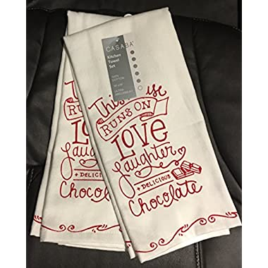 Casaba Set of 2 Kitchen Towels 100% Cotton Ultra Absorbent 18  X 28  THIS HOUSE RUNS ON LOVE LAUGHTER & DELICIOUS CHOCOLATE