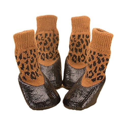 duojin huisdier waterdichte regenschoenen laarzen sokken anti-slip rubberen laarzen voor kleine grote hond, 2#, Brown leopard print