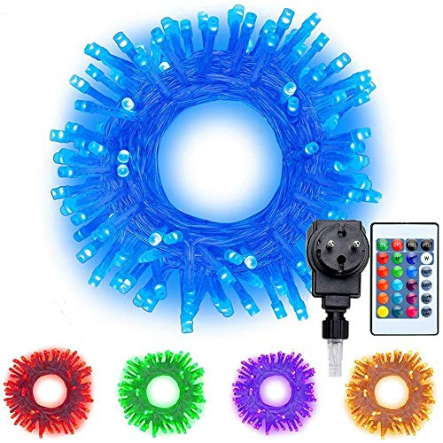 RGB LED Lichterkette 20M 200 LEDs Ollny Bunte Lichterkette 16 Farben und Mehrfarbig 4 Modi mit Fernbedienung & Timer für Weihnachten Party Geburstag Hochzeit Dekoration
