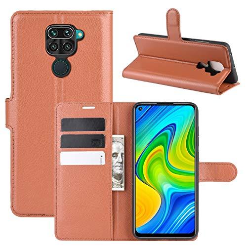 Liluyao Funda telefónica para Xiaomi para Xiaomi redmi Nota 9 / 10X 4G Litchi Textura Horizontal del Caso del tirón Protector con el sostenedor y Ranuras para Tarjetas y Monedero (Color : Brown)