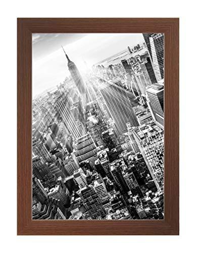 FRAMO 35 Bilderrahmen 64 x 48 cm, Farbe: Wenge, handgefertigter MDF Rahmen mit bruchfester Anti-Reflex Kunstglasscheibe, Rahmen Breite: 35 mm, Außenmaß: 69,8 x 53,8 cm