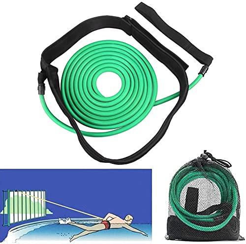 Fooing Cinturón de Entrenamiento, Equipo de natación Cuerda Elástica Conjunto de Cinturón de Natación Equipo de Fuerza de Resistencia de Natación para Adultos y Niños (4M Verde Manzana)