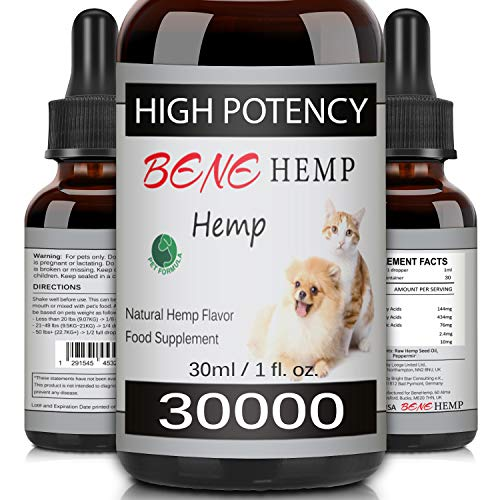 BENE Hemp Natural Oil for Dogs & Cats, High Potency, Rich in Vitamins, Minerals & Omega 3, 6, 9 (30000mg/30ml)