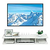 ODNUM Floating TV Stand Wall Mounted Audio/Video Console Shallow Floating TV Console Wallmount Asymmetrical Floating Wall Mounted TV Console Farmhouse TV Stand Entertainment Center TV Console (White)