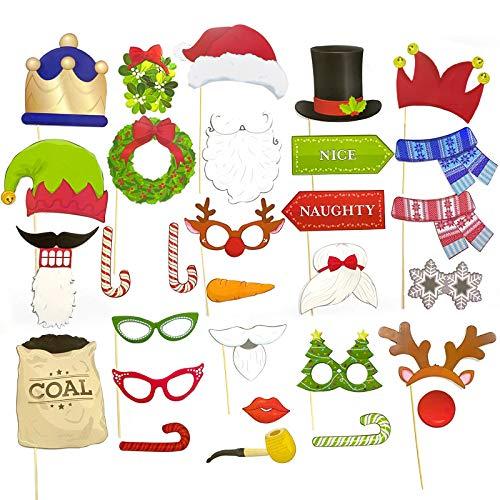 Accesorios de fotografía Xmas, Fiesta de Navidad Apoyos de Photo Booth, Accesorios Photobooth de Navidad, Navidad Photo Booth Props, Navidad Accesorios de Cabina de Fotos,Photocall Accesorios