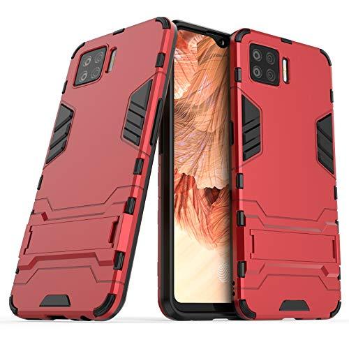 GUOQING Carcasa de telefono para la Caja del teléfono del Soporte del Soporte OPPO F17, la Cubierta Posterior del Soporte ascitado, la Cubierta Protectora (Color : Red)