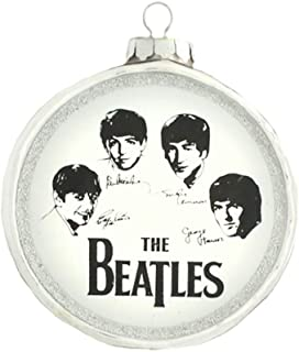 kat + annie Ornament The Beatles Drum, Silver and White