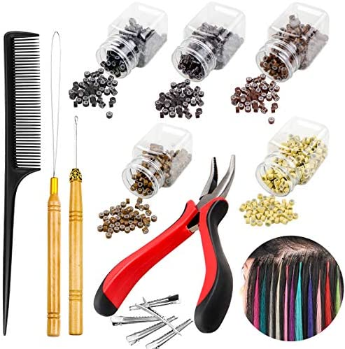 Yotako Hair Extension Kit 1500 Pcs Micro Ring Beads Hair Beads Pliers Pulling Hook Needle Bead product image