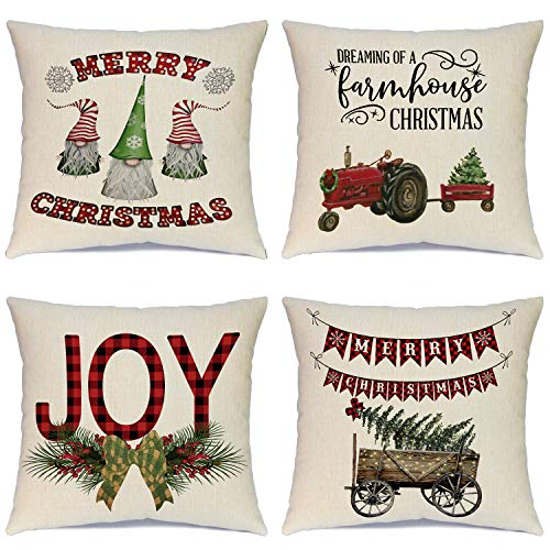 Ueerdand Christmas Santa Pillow Covers Farmhouse Throw Pillowcases Set of 4 Cotton Linen Pillow Cushion Cover for Xmas Halloween Thanksgiving Autumn Decorations, 18 by 18 inch