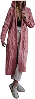 Bravetoshop Womens Loose Open Front Long Sweater Cardigans Long Sleeve Solid Knitwear Lightweight Kimono Coats