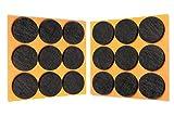HaftPlus - 18 Stück Filzgleiter Ø 28 mm, Möbelgleiter selbstklebend, Kratzschutz für Stühle, Möbel, Tischbeine - Anschlagschutz in braun