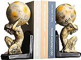 Aralinda Sujetalibros vintage de Hércules libro extremos retro humanoide estantería decoración de Navidad sujetalibros para coleccionar discos de CD de 10 pulgadas de alto sujetalibros decorativos