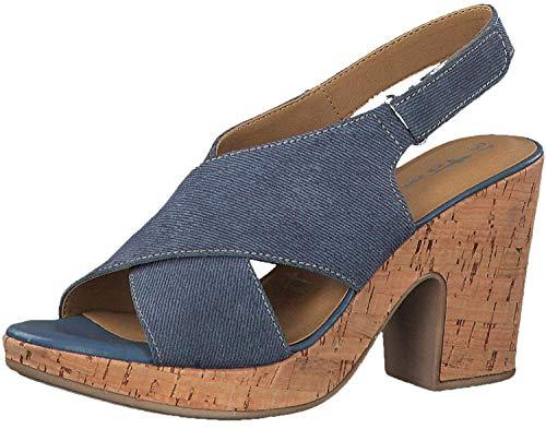 Tamaris 28364-22 Damen Sandalette aus Textil Touch-it-Innensohle 85-mm-Absatz, Groesse 40, hellblau