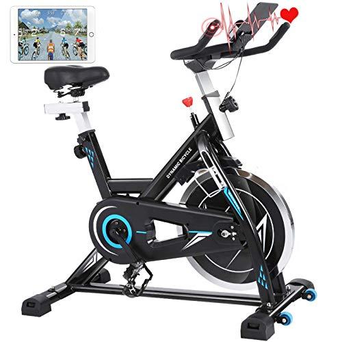 ANCHEER Heimtrainer Hometrainer Fahrrad Indoor Cycling Fitnessbikes, Verstellbarem Sitzkissen, 22KG Silent Belt Drive Verchromtes mit Halterung, Lenker und Basis bis 150KG