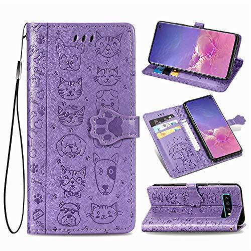Generic Handyhülle für Galaxy S10 Hülle Leder Schutzhülle Brieftasche mit Kartenfach Magnetisch Stoßfest Handyhülle Case für Samsung Galaxy S10 - XISHD050378 Violett