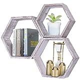 Comfify Rustikales Schweberegal Hexagon - 3er-Set - Groß