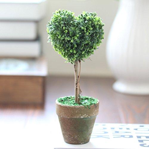 Set Decoración del hogar Plantas Artificiales En Maceta Modelado Lindo Plantas en Maceta Falsas En Forma de corazón