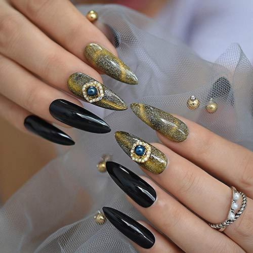 TJJF 3D Diamond Fake Nails Extra Long Point Cat Eye Effect Polish Uv Gel Nail Galaxy Shimmer Stiletto Faux S With Adhesive