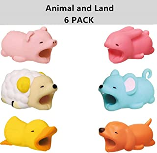 Cable Protector for iPhone iPad Cable Cord Plastic Cute Land Animals Phone Accessory Protects USB Charger Data Protection Cover Chewers Earphone Cable Bite 6 PC (PDSDMR)