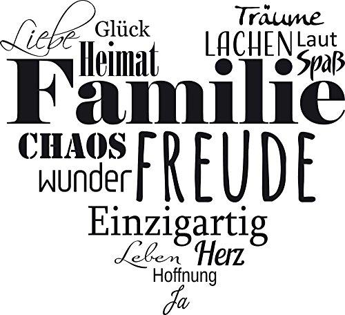 GRAZDesign Wandtattoo Familien - Tattoo als Herz an die Wand - Wanddeko für Wohnzimmer/Schlafzimmer/Küche / 33x30cm / 070 schwarz