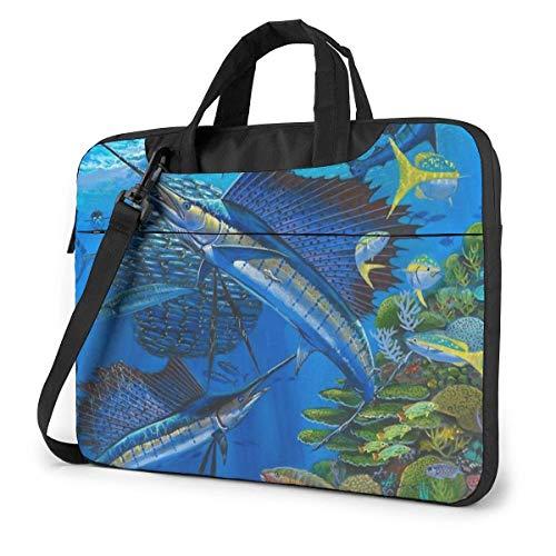Laptop-Umhängetasche Sailfish Billfish Reef Neuartige Laptop-Tasche mit Griff Tragetasche für 15,6-Zoll-Laptop
