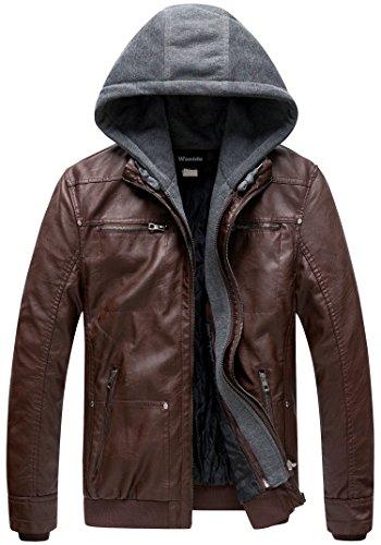 Wantdo Giacca Tempo Libero Giacca Pelle PU Invernale Leather Jacket Hooded Giubbotto Morbido in Pelle Uomo caffè Spesso XXL