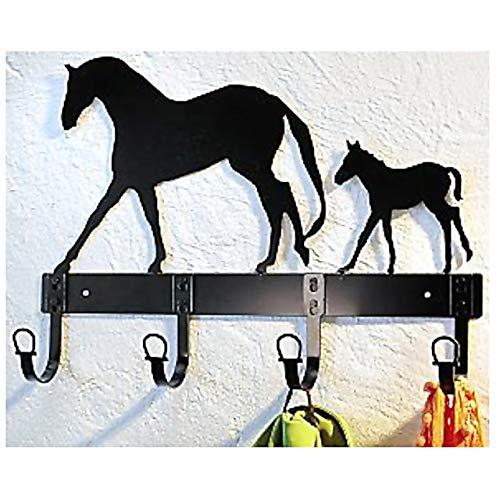 TRI - Perchero de pared (metal, 4 ganchos, 45 x 24 cm), diseño de caballo y potro, color negro