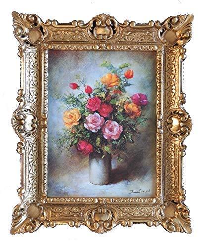 Lnxp Wunderschönes Gemälde Stillleben 56x46 cm Bilder Barock Antik Repro Rahmen Blumen Vase Rose Rot Blumenparadise
