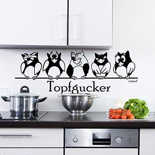 Sunnywall Wandtattoo Topfgucker Eulen Vögel Kochen Küche Essen Wandsticker Schwarz Gr1