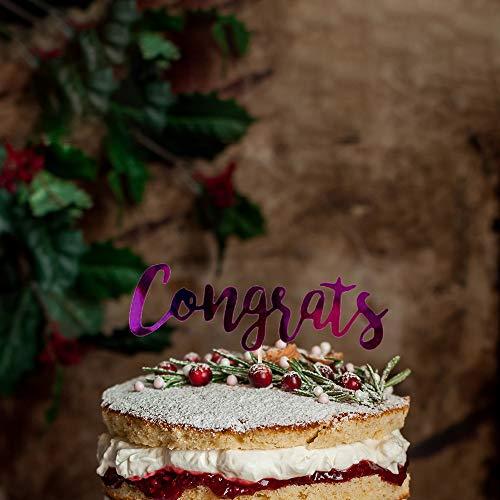 Aangepaste Gefeliciteerd Cake Topper, Gepersonaliseerde Cake Topper voor Verjaardag, Baby Shower,Bruiloft, Afstuderen, Promotie