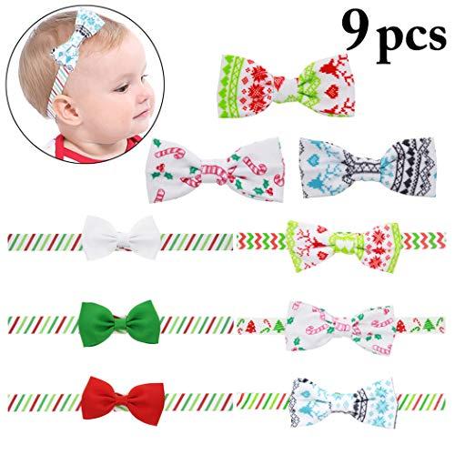 6PCS Baby Headbands Decorative Christmas Bowknot Hair Bands Girls Headwear Hair Ties with Hair Clips