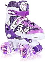 Adjustable Roller Skates, Roller Skates for Girls, with 8 Wheels Light Up, Fun Illuminating for Girls Boys for Kids, Rollerskates for Kids Beginners, Medium(2-5)
