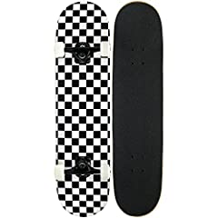 Canadian Maple Construction 7.75-Inch Deck White 52mm Wheels Black Aluminum Trucks Black Grip tape
