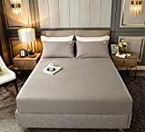 HPPSLT Protector de colchón, algodón, poliéster, Sábana de Cama Color Puro algodón-Gris Claro_90cm × 200cm